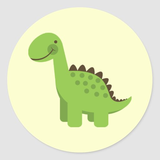 Cute Green Dinosaur Round Sticker