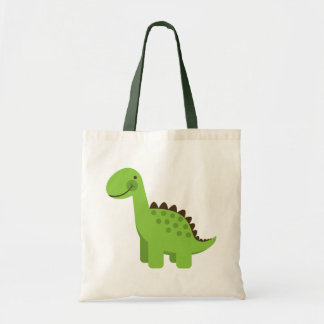 Cute Green Dinosaur Tote Bag