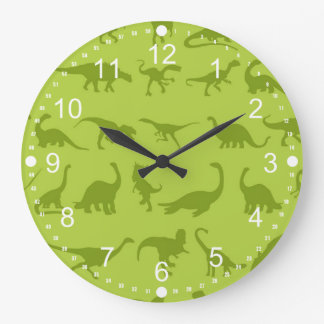 Cute Green Dinosaurs Patterns for Boys Large Clock