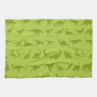 Cute Green Dinosaurs Patterns for Boys Tea Towel