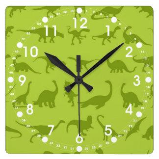 Cute Green Dinosaurs Patterns for Boys Wallclocks
