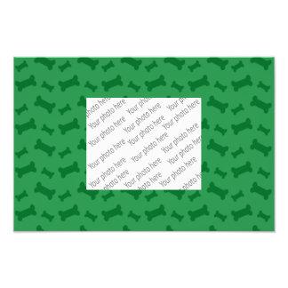 Cute green dog bones pattern photo print