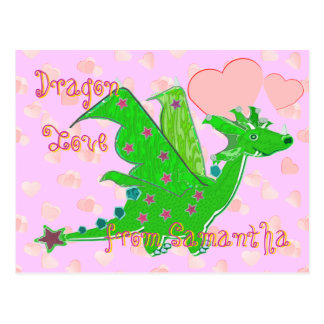 Cute Green Dragon Love Hearts Kids Postcard