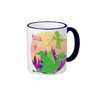 Cute Green Dragon Mug customizable Name Olivia