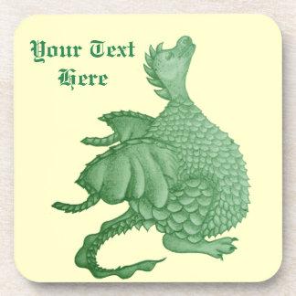 cute green dragon mythical fantasy creature art coaster
