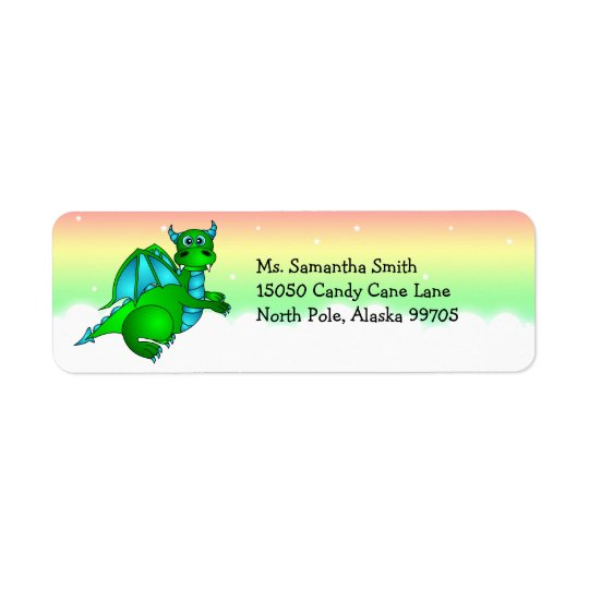 Cute Green Dragon Return Address Label