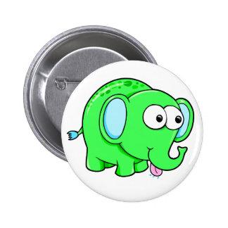 Cute Green Elephant Button