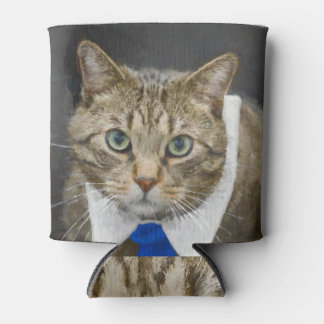 Cute green-eyed brown tabby cat wearing a blue tie can cooler