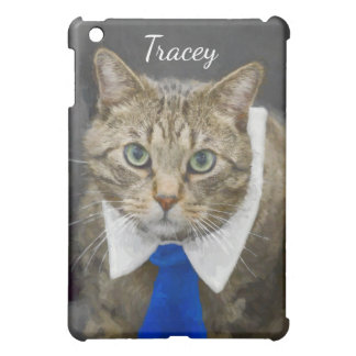 Cute green-eyed brown tabby cat wearing a blue tie iPad mini case