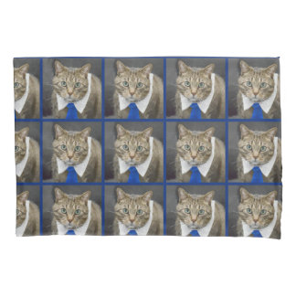 Cute green-eyed brown tabby cat wearing a blue tie pillowcase