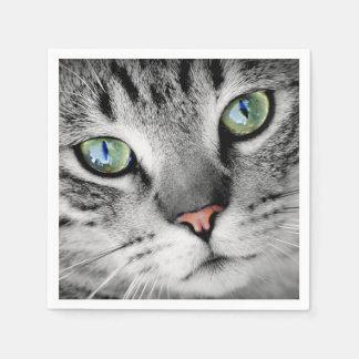 Cute green eyed cat portrait paper napkins