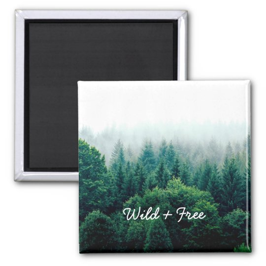Cute Green Forest Landscape Wild and Free Magnet
