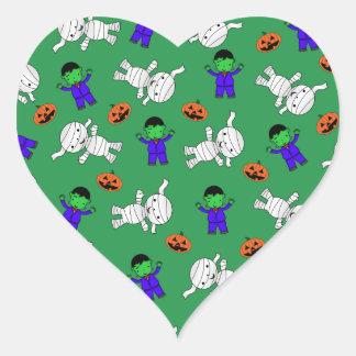 Cute green Frankenstein mummy pumpkins Heart Stickers