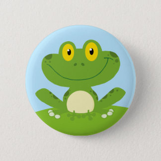 Cute Green Frog 6 Cm Round Badge