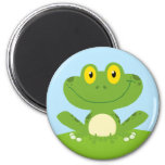 Cute Green Frog 6 Cm Round Magnet
