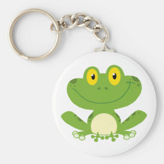 Cute Green Frog Basic Round Button Key Ring