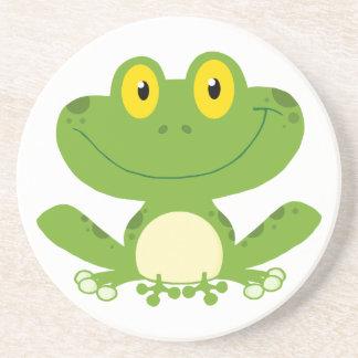 Cute Green Frog Beverage Coaster
