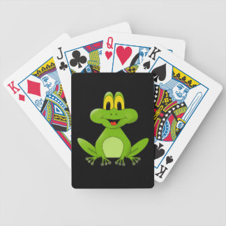 Cute Green Frog Cartoon Bicycle Playing Cards