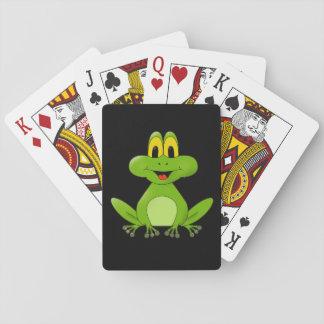 Cute Green Frog Cartoon Playing Cards