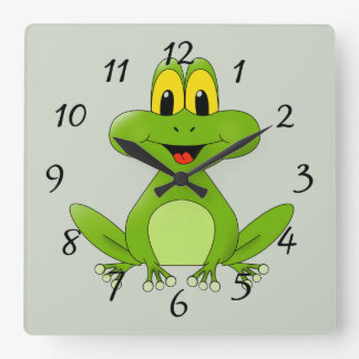 Cute Green Frog Cartoon Square Wall Clock