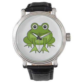 Cute Green Frog Cartoon Watch