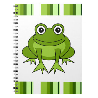 Cute Green Frog Cartoon with Stripes Spiral Notebooks