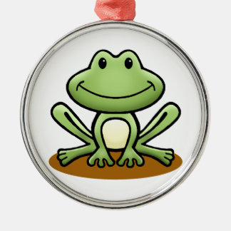 Cute Green Frog Christmas Ornament