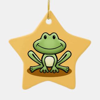 Cute Green Frog Christmas Ornament
