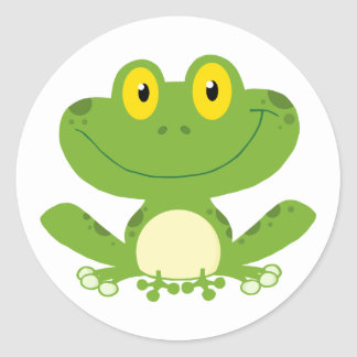 Cute Green Frog Classic Round Sticker