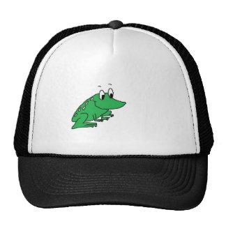 Cute green frog drawing cap