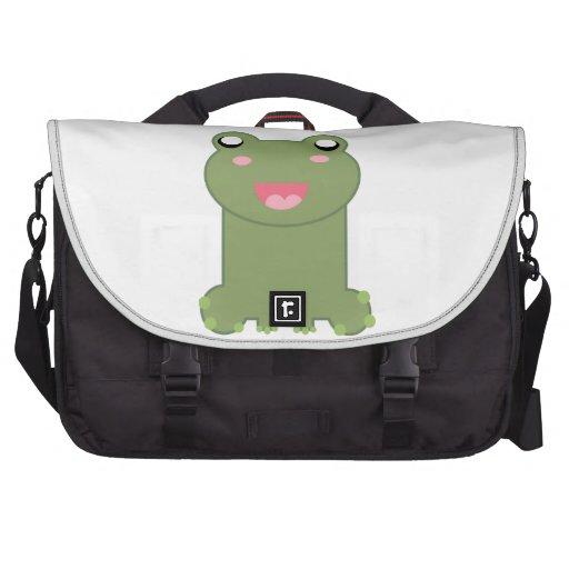 Cute Green Frog Illustration Laptop Commuter Bag