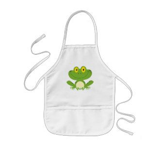 Cute Green Frog Kids Apron