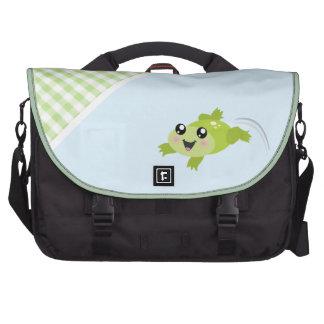 Cute green frog laptop messenger bag