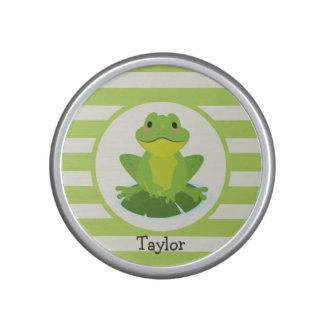 Cute Green Frog on Striped Pattern Bluetooth Speaker