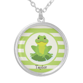 Cute Green Frog on Striped Pattern Silver Plated Necklace