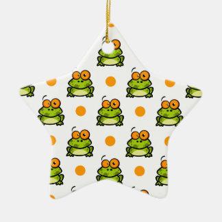 Cute Green Frog, Orange & White Polka Dots Ceramic Star Decoration