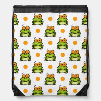 Cute Green Frog, Orange & White Polka Dots Drawstring Backpacks
