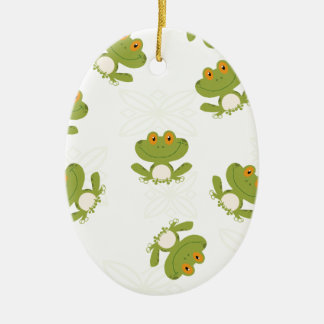 Cute Green Frog Pattern Ceramic Oval Decoration