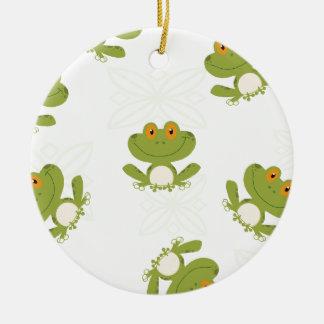 Cute Green Frog Pattern Round Ceramic Decoration
