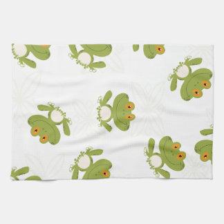 Cute Green Frog Pattern Tea Towel