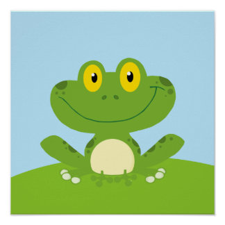Cute Green Frog Poster