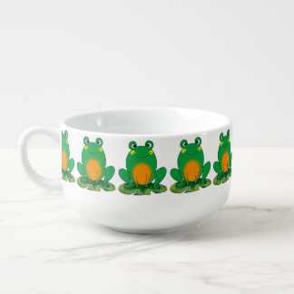 cute green frog soup mug