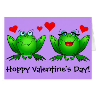 Cute Green Frogs Happy Funny Valentines Day Greeting Card