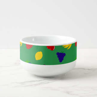 Cute green fruits soup bowl with handle