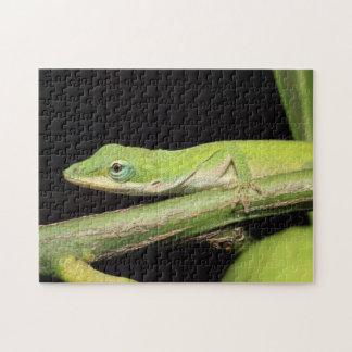 Cute Green Garden Anole Lizard Nature Wildlife Jigsaw Puzzle