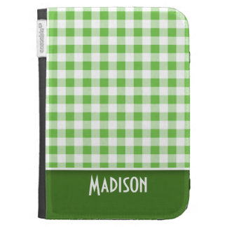 Cute Green Gingham Kindle 3 Cases