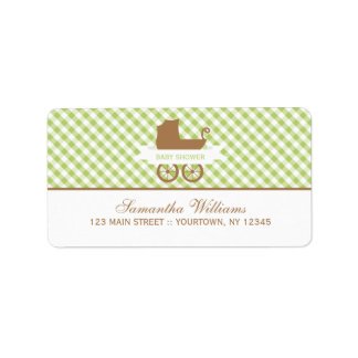 Cute Green Gingham Pattern and Baby Carriage Address Label