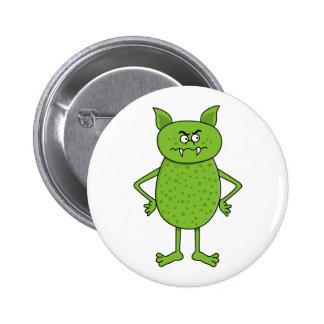 Cute green goblin cartoon 6 cm round badge