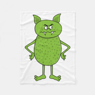 Cute green goblin cartoon fleece blanket