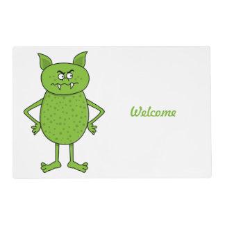 Cute green goblin cartoon laminated place mat